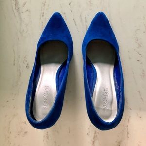Forever21 Blue Faux Suede Pointed Toe Heels